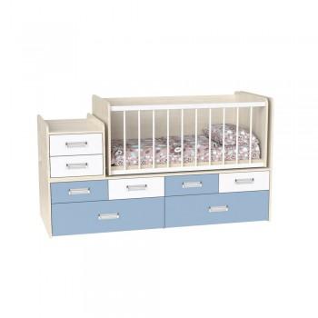 Кровать детская - Трансформер 3в1 Binky ДС4114 Дуб шамони светлый / Скай + Аляска (белая решётка)