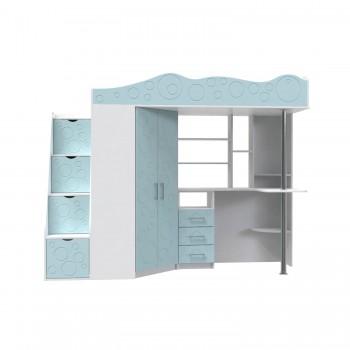 Кровать - чердак Binky ДС37А Аляска / Голубая лагуна