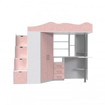 Кровать - чердак Binky ДС37А Аляска / Розовый