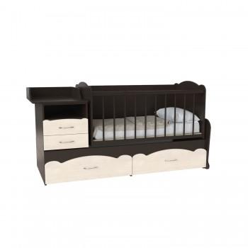 Кровать детская - Трансформер 3в1 Binky ДС043 Венге / Дуб шамони светлый (решётка венге)