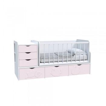 Кровать детская - Трансформер 3в1 Binky ДС504A Аляска / Розовый (решётка Белая)