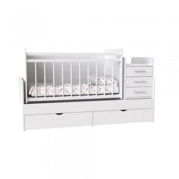 Кровать детская - Трансформер 3в1 Binky ДС039 Аляска / Аляска (белая решётка)