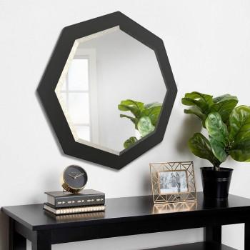 Настенное зеркало с фацетом ( круглое ) 800 мм, черное