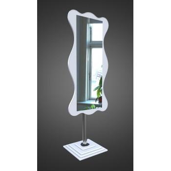 Зеркало напольное на ножке прямоугольное с фигурной рамой, белое