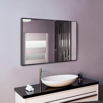Черное настенное зеркало в алюминиевой раме для ванной