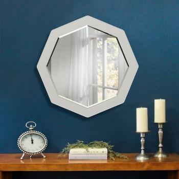 Настенное зеркало с фацетом восьмиугольное ( круглое ) 600 мм, белое