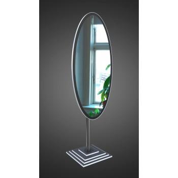 Овальное напольное зеркало на ножке, черно-белое