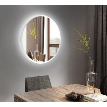 Белое круглое настенное зеркало с подсветкой