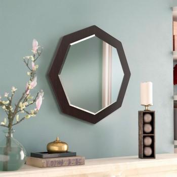 Настенное зеркало восьмиугольное с фацетом ( круглое ) 600 мм, венге