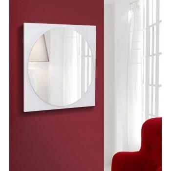 Зеркало настенное круглое на квадратной основе 600х600, белое
