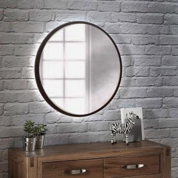 Круглое настенное зеркало с подсветкой венге магия