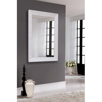 Зеркало настенное в блестящей белой раме