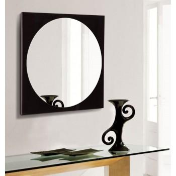 Зеркало настенное круглое на квадратной основе черное 600х600