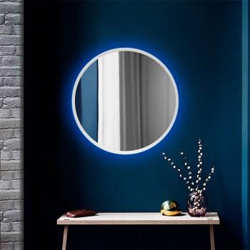 Круглое настенное зеркало в белом цвете с подсветкой Led