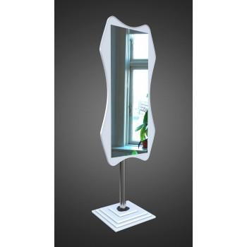 Напольное зеркало в белом цвете на ножке