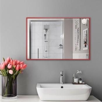 Зеркало настенное для ванной комнаты в красном цвете