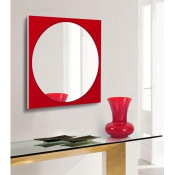 Зеркало настенное на основе крашеного стекла 600х600, красное