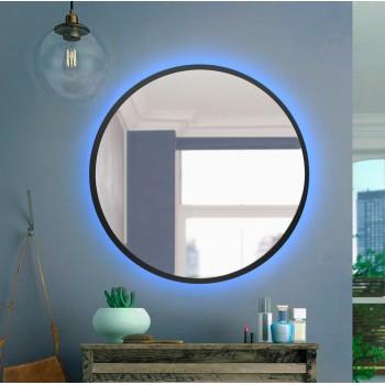 Черное настенное круглое зеркало с Led подсветкой