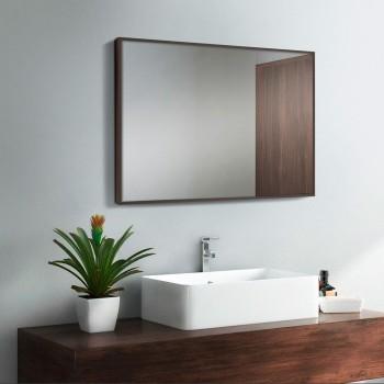 Зеркало настенное в ванную в алюминиевой раме, коричневый цвет