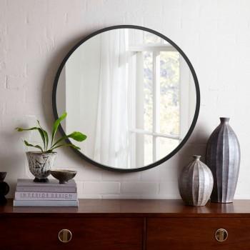 Круглое настенное зеркало в черном цвете 1000 мм