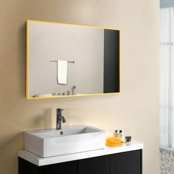 Зеркало настенное в алюминиевой раме, желтый цвет