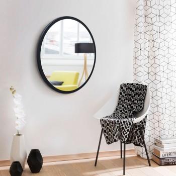 Черное настенное круглое зеркало 600 мм