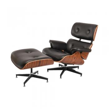 Кресло Eames Lounge Chair с оттоманкой (черный)
