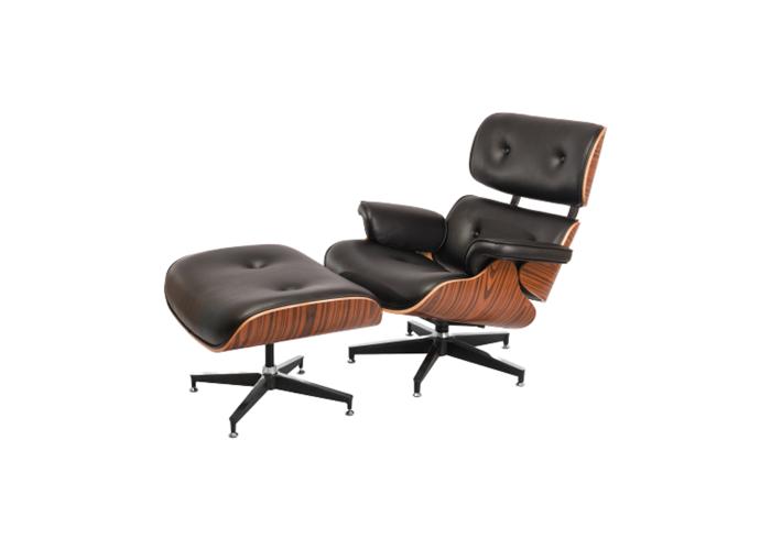 Кресло Eames Lounge Chair с оттоманкой (черный)  1