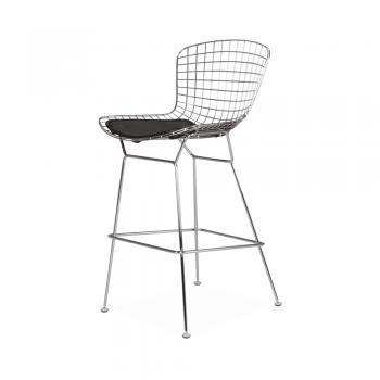 Барный стул Bertoia Bar Stool Хром (черная подушка)