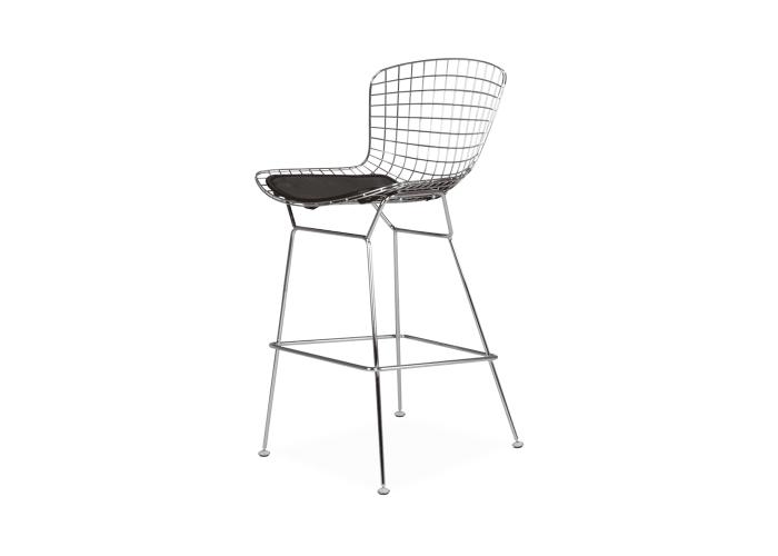 Барный стул Bertoia Bar Stool Хром (черная подушка)  1