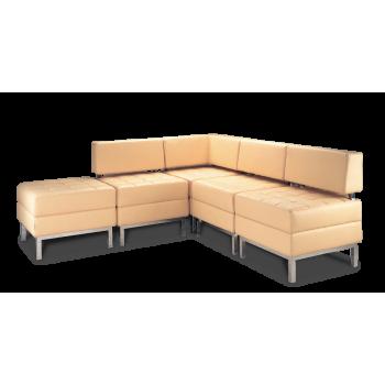 Диван модульный: кресло Римини - 1 NS (3 шт.) + угол NS + пуф NS
