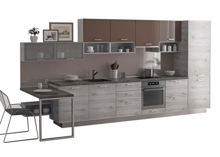 Модульная кухня Дуб полярный Какао 4200 мм.  2