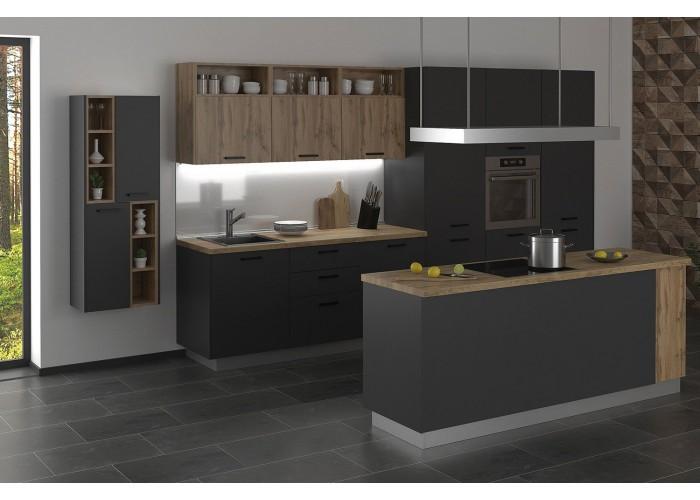 Модульная кухня Дуб природный & Серый пепел 4100 мм.  1