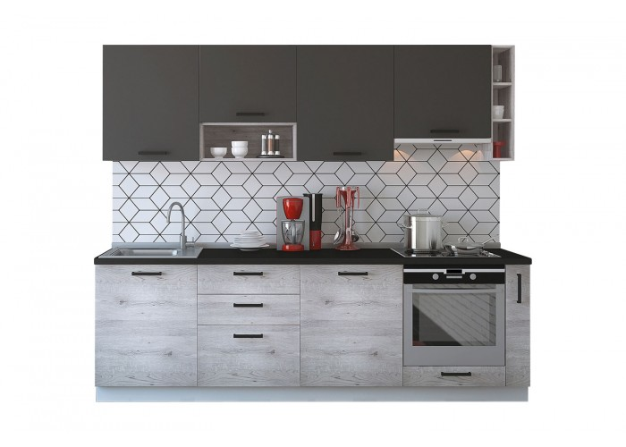 Модульная кухня Дуб полярный & Серый пепел 2550 мм.  2
