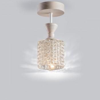 Потолочный светильник из массива ясеня, металла и винтажного хрустального абажура