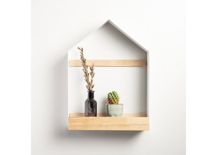 Полка- домик из металла и ясеня в скандинавском стиле  1