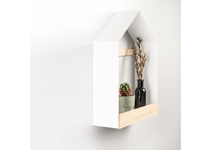 Полка- домик из металла и ясеня в скандинавском стиле  2