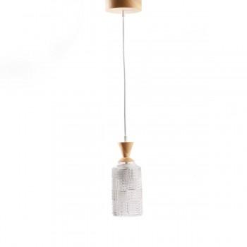 Светильник из массива ясеня и винтажного хрустального абажура