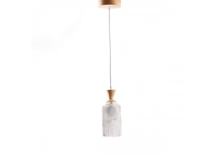 Светильник из массива ясеня и винтажного хрустального абажура  1
