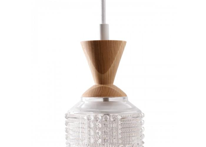 Светильник из массива ясеня и винтажного хрустального абажура  2