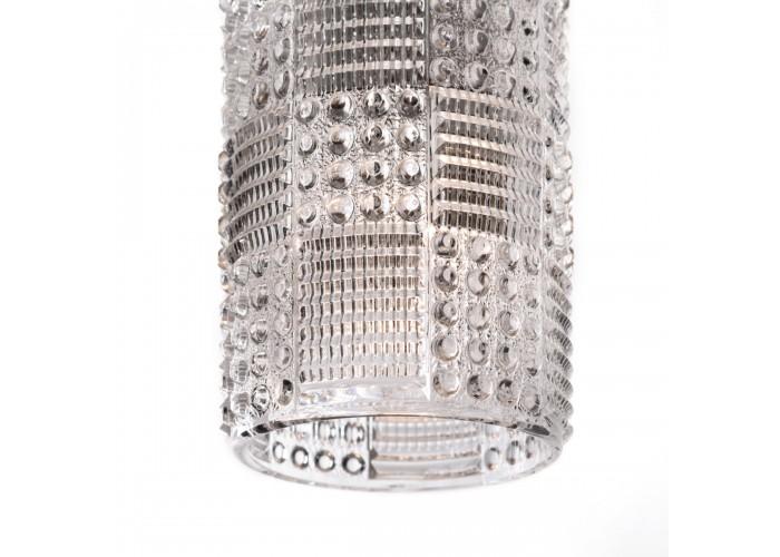 Светильник из массива ясеня и винтажного хрустального абажура  3