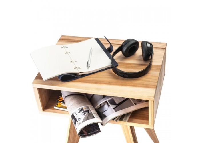 Тумбочка дизайнерская прикроватная из массива береста в стиле mid century 01  6