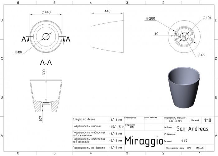 Умывальник MIRAGGIO SAN ANDREAS матовый й с литого мрамора  4