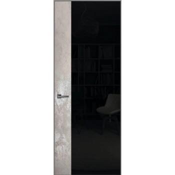Loft L5 – алюминиевый скрытый короб – отделка каменный шпон + крашенное стекло
