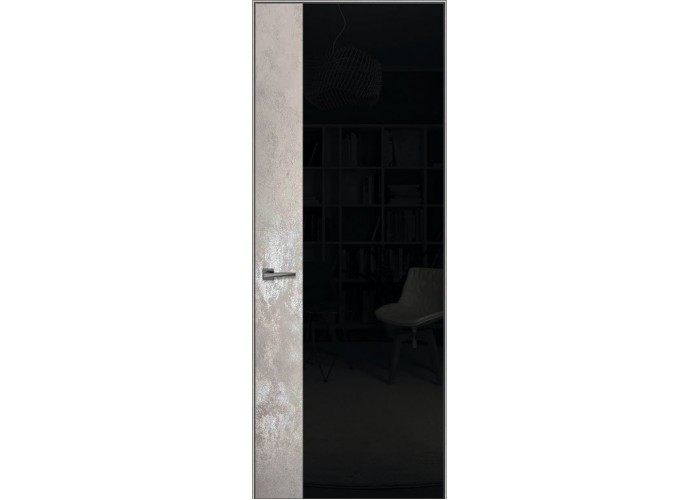 Loft L5 – алюминиевый скрытый короб – отделка каменный шпон + крашенное стекло  1