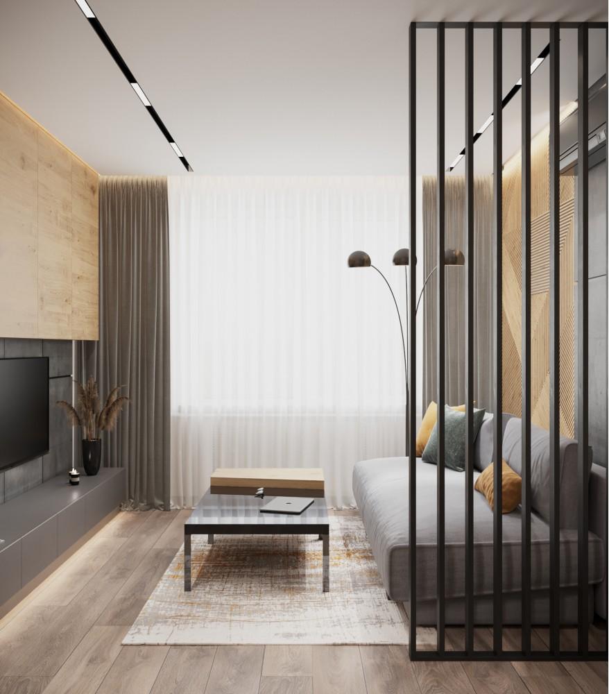 Гостиная в дизайн-проекте 2-комнатной квартиры ЖК Город Цветов — BoDesign