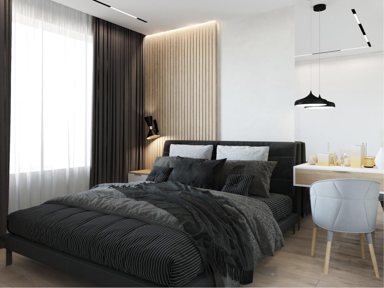 Спальня в дизайн-проекте 2-комнатной квартиры ЖК Город Цветов — BoDesign