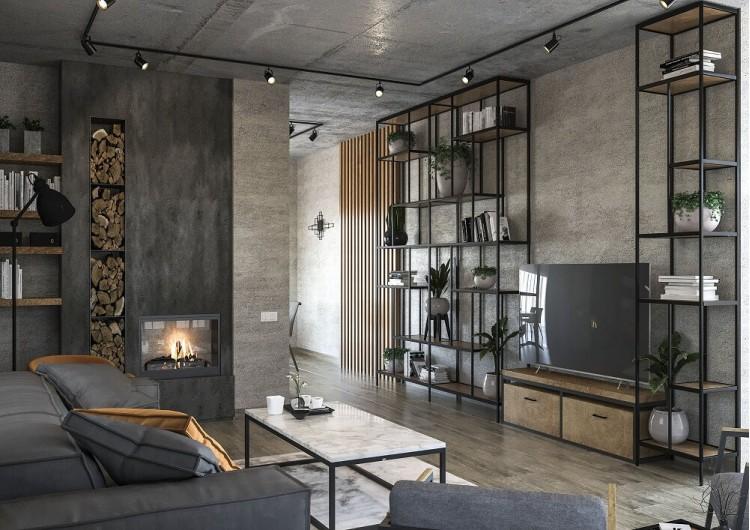 Гостиная — Дизайн-проект частного дома в стиле лофт, 200 м. кв — студия дизайна Inerior12