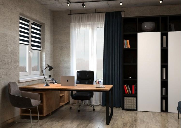 Кабинет — Дизайн-проект частного дома в стиле лофт, 200 м. кв — студия дизайна Inerior12