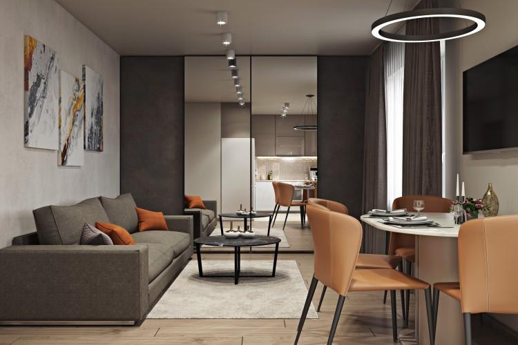 Кухня-гостиная — Дизайн-проект 2-комнатной квартиры, 44 м.кв — студия дизайна  Interior12